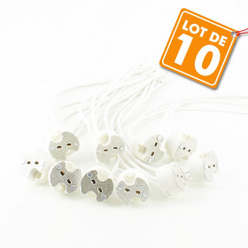 Lot de 10 Douilles MR16 GU5.3 Céramique Halogène ou LED
