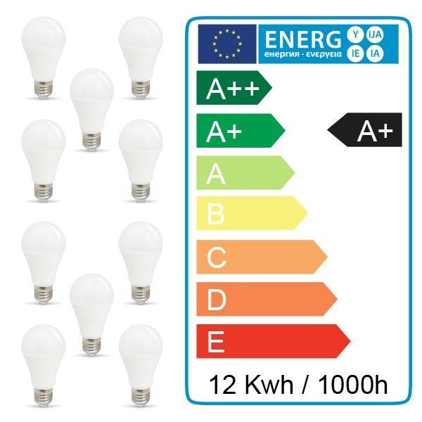 10 pcs pack - 10W AMPOULE LED A60 E27 Blanc naturel