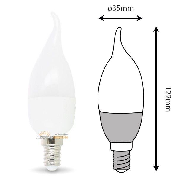 Lot de 6 ampoules E14 Flamme 6W eq 50W