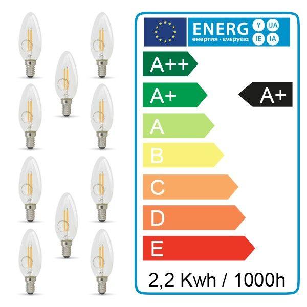 Lot de 10 ampoules filament E14 2.2W 250 Lumens