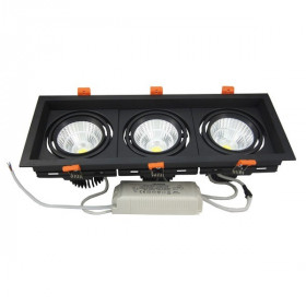 Encastrable plafond Downlight 3X10W Noir 4500K