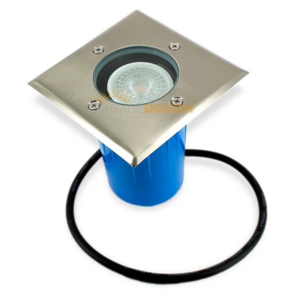 Spot carré inox GU10 à enterrer avec ampoule LED 350Lm