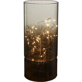Vase décoratif lumineux verre fumé 20cm