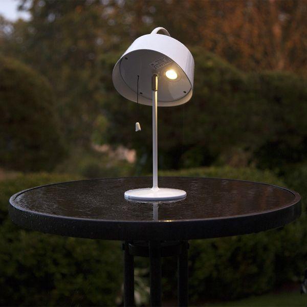 Lampe à poser extérieur blanche Blanc chaud solaire