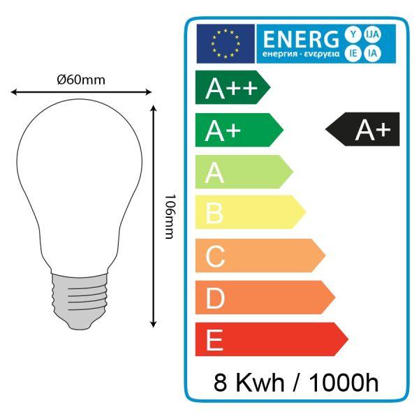Ampoule LED E27 8W Eq 60W MAT En verre