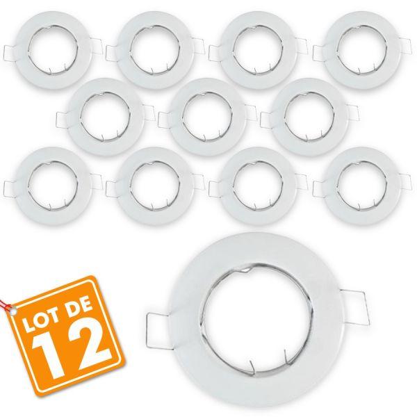 Lot de 12 supports fixe blanc