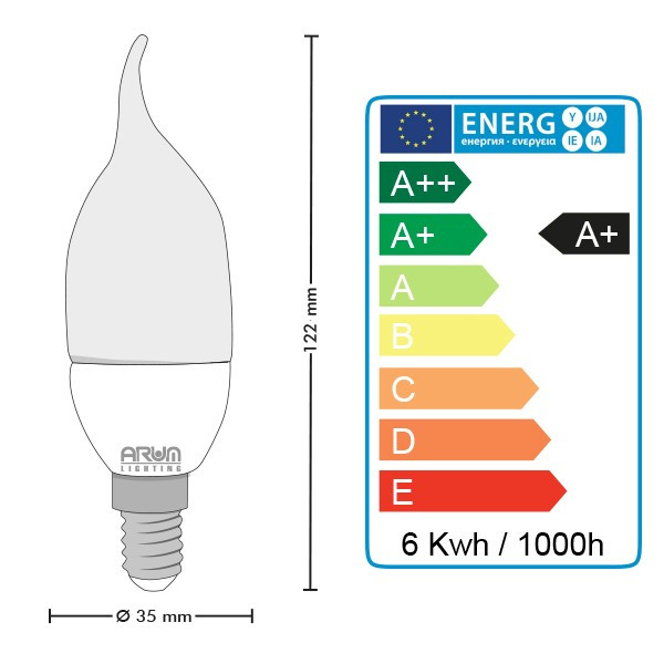 Ampoule led Flamme E14 6W Blanc chaud