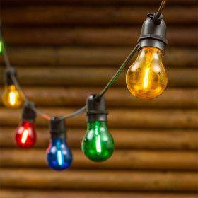 Guirlande E27 A60 10 ampoules Multicolores filaments LED
