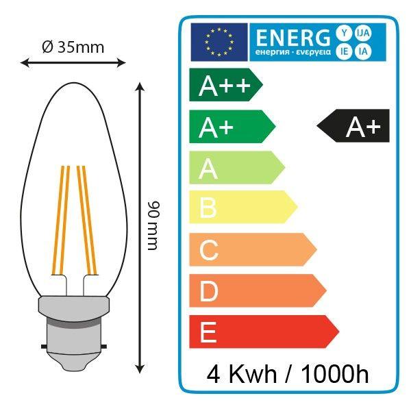 Lot de 5 Ampoules Led 4W (40W) B22 Filament Flamme Blanc chaud 2700°K