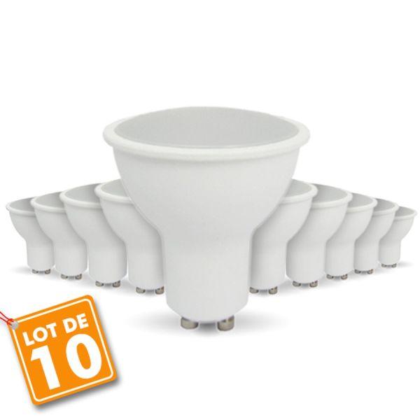 10 pcs pack - 7W BOMBILLA LED GU10 Blanco cálido