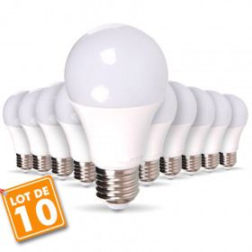10 pcs pack - 9W AMPOULE LED A60 E27 Blanc naturel