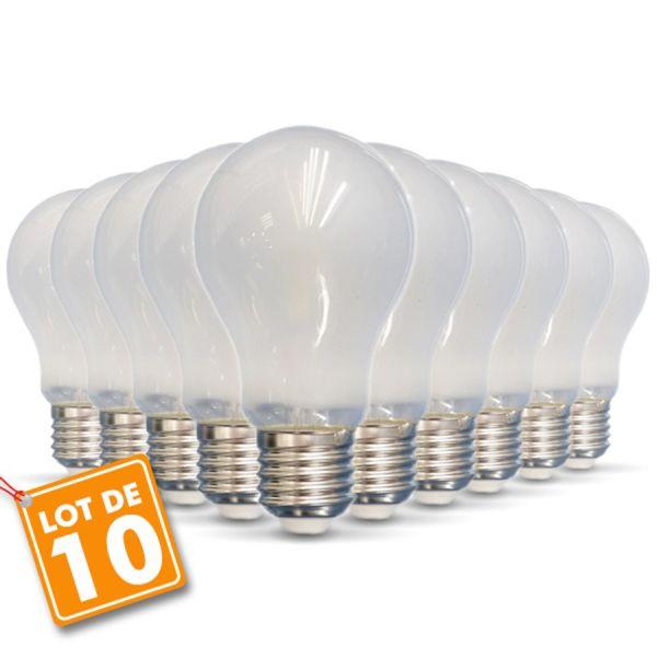 Lot de 10 ampoules E27 6W Filament Opaque