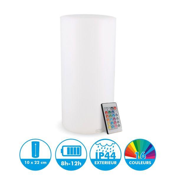 Centro de mesa de luz recargable cilindro H24cm