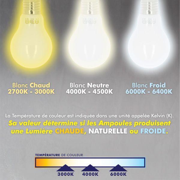 lot de 10 ampoules led e27 9w eq 60w 806lm blanc naturel eclairage design. Black Bedroom Furniture Sets. Home Design Ideas