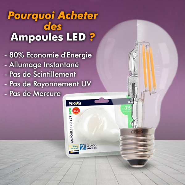 lot de 3 ampoules LED E27 9W 4000K blanc naturel