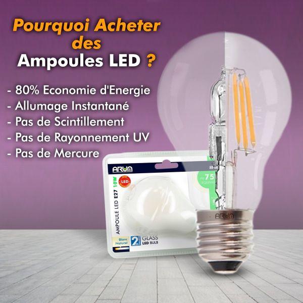 Lot de 10 Ampoules E27 4W Filament eq. 40W blanc chaud 2700K