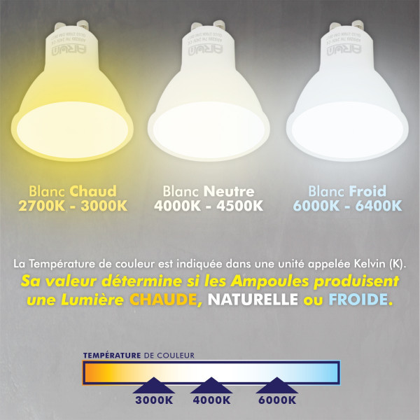 Lot de 10 Spot LED encastrable complete orientable blanc avec Ampoule GU10 230V 5W Blanc chaud