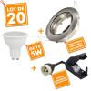 20 x Spot encastrable orientable Acier Brossé complet LED 5W eq 40W