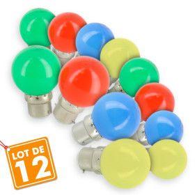 Lot de 12 Ampoules B22 Panaché Guirlande Fête de Village