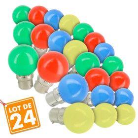 Lot de 24 Ampoules B22 Panaché Guirlande guinguette extérieur