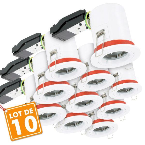 Lot de 10 Supports de spot BBC D88 avec douille GU10 automatique