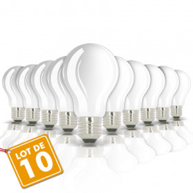Lot de 10 Ampoules LED E27 8W eq 60W 806m GLASS sans radiateur