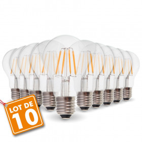 Lot de 10 Ampoules E27 6W Filament eq. 60W blanc chaud 2700K