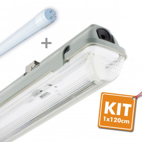 Kit tube LED 20W 120cm T8 étanche IP65 + Tube LED
